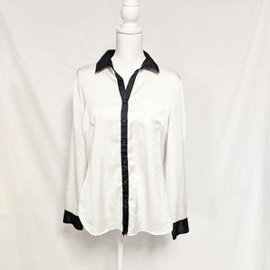 New York &Co Button Up Blouse Large Black White